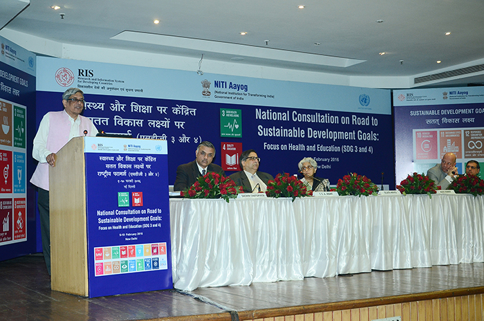 Photo: Prof. Bibek Debroy, Member, NITI Aayog speaking at the National Consultation on Road to Sustainable Development Goals: Focus on Health and Education (SDG 3 and 4). Also seen in picture (from left to right) are Prof. Sachin Chaturvedi, Director General, RIS; Prof. TCA Anant, Chief Statistician of India and Secretary, Ministry of Statistics and Programme Implementation; Ms. Sujata Mehta, Secretary (West), Ministry of External Affairs; Mr. Yuri Afanasiev, UN Resident Coordinator and UNDP Resident Representative in India; and Mr. P K Anand, Sr. Consultant, NITI Aayog