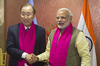 He For She campaign shawls exchanged by Hon'ble Prime Minister of India Mr. Narendra Modi and United Nations Secretary-General Ban Ki-moon in support of equality for all