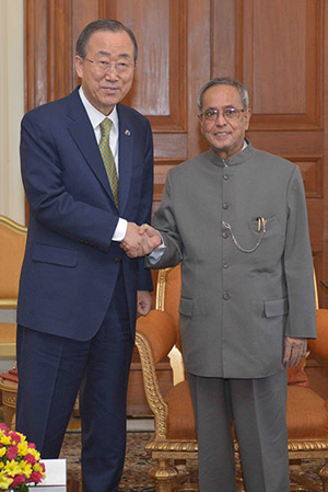 United Nations Secretary-General Ban Ki-moon calling on the Hon'ble President of India, Shri Pranab Mukherjee at Rashtrapati Bhavan on January 13, 2015.