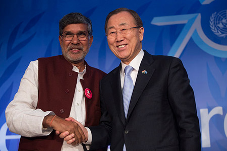 United Nations Secretary-General Ban Ki-moon met Nobel Peace Laureate Kailash Satyarthi at the launch of yoUNg@70.
