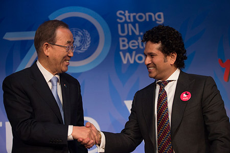 United Nations Secretary-General Ban Ki-moon met UNICEF Ambassador and cricketer Sachin Tendulkar at the launch of yoUNg@70.