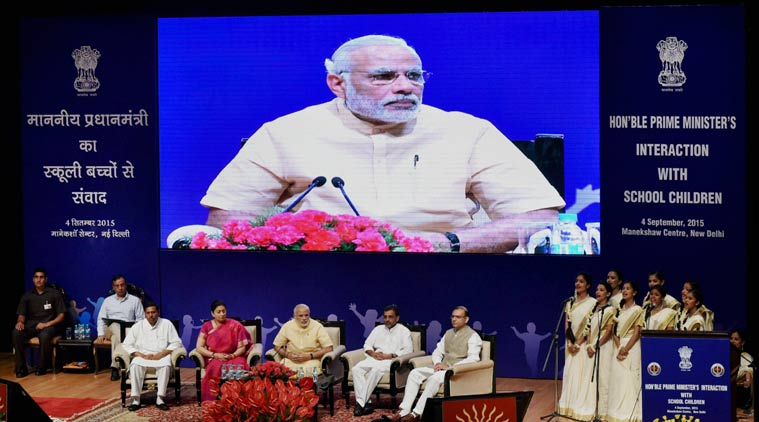 PM INTERACTS WITH SCHOOL CHILDREN ON THE EVE OF TEACHERS' DAY
