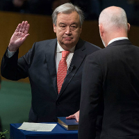 Taking oath of office, antónio guterres pledges to work for peace, development and a refo...